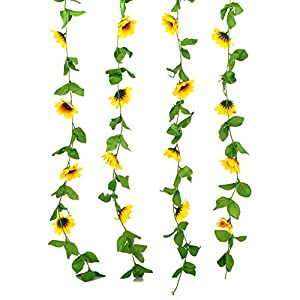 Charmly 2 Pack Artificial Sunflower Garland Fake Silk Sunflower Vine Home Wedding Party Garden Decor Each Vine 12 Flower Heads Each 8 ft Long 8