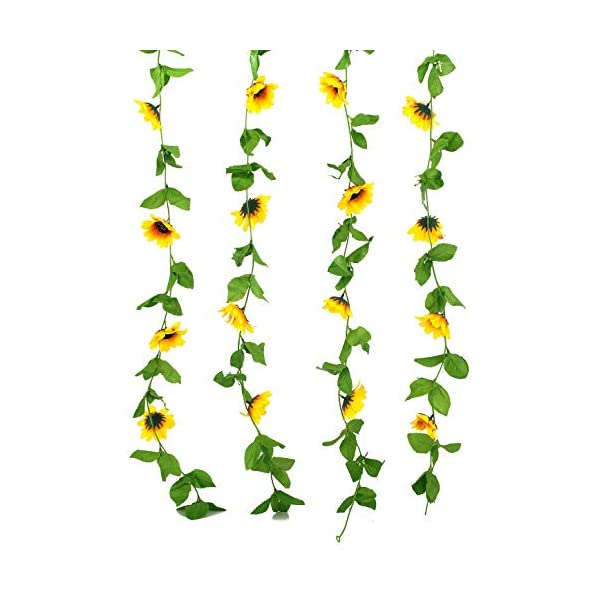 Charmly Pack of 2 Artificial Sunflower Garland Fake Silk Sunflower Vine Home Wedding Party Garden Decor Each Vine 12 Flower Heads Each 8 ft Long