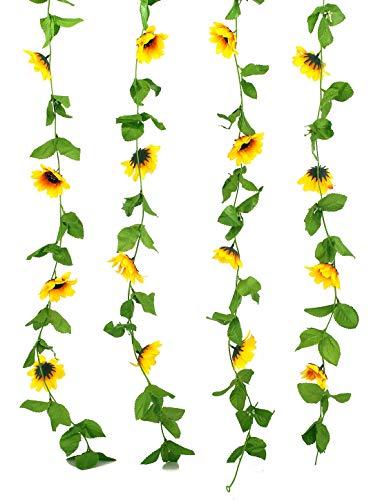 Charmly 2 Pack Artificial Sunflower Garland Fake Silk Sunflower Vine Home Wedding Party Garden Decor Each Vine 12 Flower Heads Each 8 ft Long