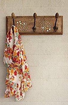 Wooden Handmade Wall Key Hooks Holder Coat Clothes Hangers Home Living Room Decor (3 Hooks) (Indian Accent Handbag Handmade)