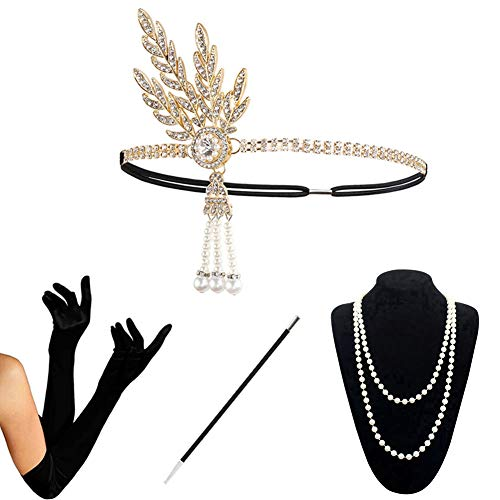 1920s Accessories Set Flapper Costume for Women (S4-HAGold) ()