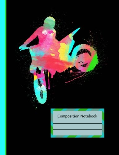 Watercolor Dirt Bike Rider Motocross Composition Notebook: Dot Grid Journal Book, School Planner, Off-Road Motorcycle Graphic Design, 200 Dotted Pages 7.44 x 9.69