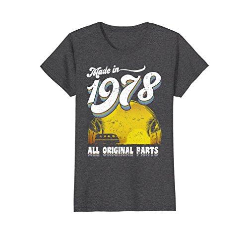 Womens Made in 1978 All Original Parts 40th Birthday Gift T-shirt XL Dark Heather