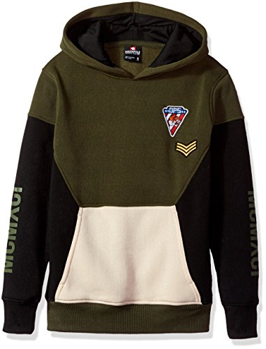 Southpole Boys' Big Long Sleeve Colorblock Pullover with Multi Patches, Olive, ()