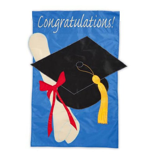 Garden Size Applique Flag Graduation Congratulations