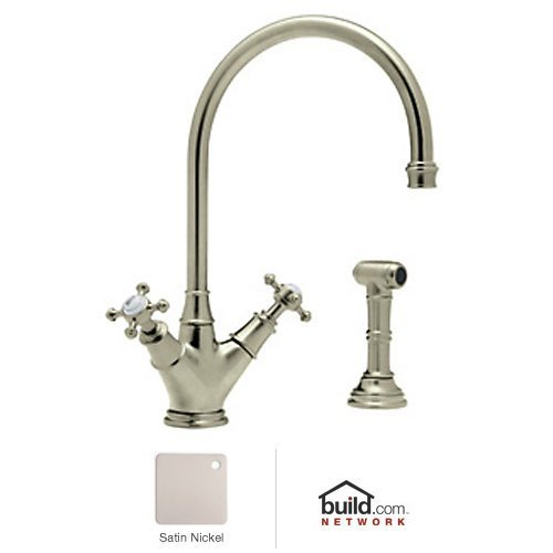 Rohl U.4707X-STN-2 Perrin and Rowe Double Handle Minoan Kitchen Faucet with Side Spray Rinse, Satin Nickel