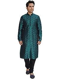 Kurta Jacquard Silk Loop Button Detailing Festive Kurta Churidar Pyjama Set For Men