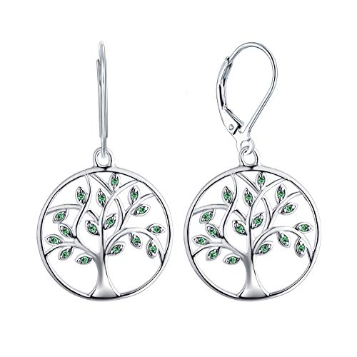 YL Tree Pendant Necklace 925 Sterling Silver Tree of Life Dangle Drop Earrings Gemstone White Gold Plated Tree Bracelet Jewelry