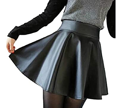 Comaba Women's Black Skater Skirt Slim Fit Bodycon PU Pu Leather Skirt