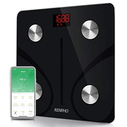 RENPHO Bluetooth Body Fat Scale Smart BMI Scale Digital Bathroom Wireless Weight Scale, Body Composition Analyzer with Smartphone App 396 lbs - Black]()