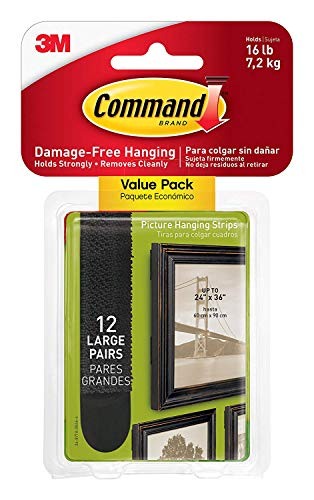 Command Large Picture-Hanging Strips, Black, 12-Sets ()