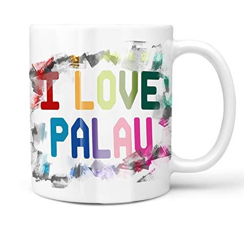 Neonblond 11oz Coffee Mug I Love Palau,Colorful with your Custom Name