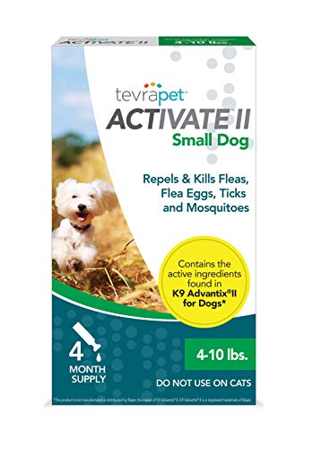 TevraPet Activate II Flea and Tick Prevention for Dogs - Topical, 4-10 Lbs (Flea Tick And Mosquito Control For Dogs)