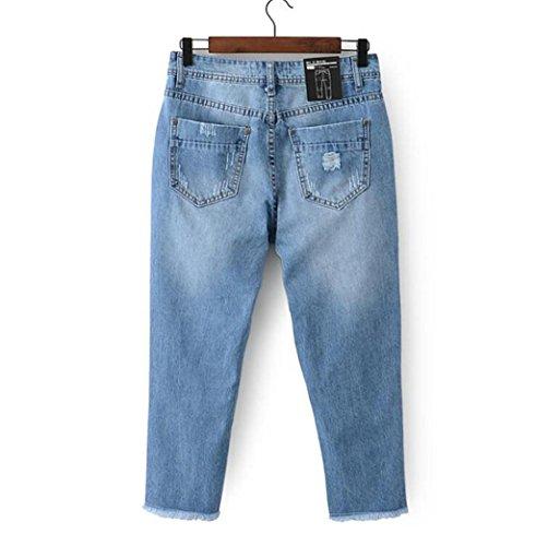 Byjia Denim Azul Estiramiento Botón Burr Jeans Womens Color Sólido Suelto Casual Mezclilla Azul Stretch Destruir Flaco Arrancó Lamentando Pantalones Slim