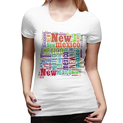 (Xinjinhon Women's State Map New Mexico NM Word Cloud Short-Sleeve Crewneck Lightweight Casual T-Shirt Tee White)
