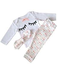 Eyelash Cute Newborn Baby Girl Clothes Top + Pants + Headband 3pcs Toddler Clothing Sets