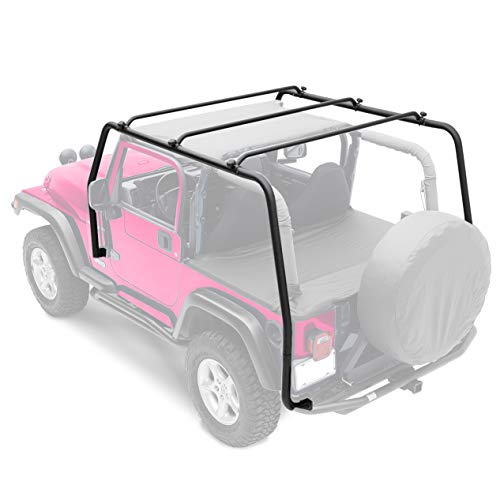 ECOTRIC Textured Black SRC Upper Top Roof Rack for 1997-2006 Jeep Wrangler TJ Part # 76713