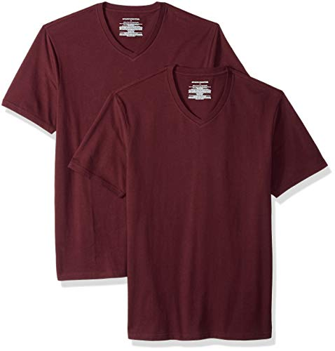 Amazon shirt neck Slim V Essentials fit Rosso 2 burgundy pack Bur T nAOFnq6