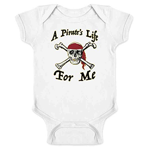 Pop Threads A Pirate's Life for Me Halloween Costume Skull White 12M Infant Bodysuit