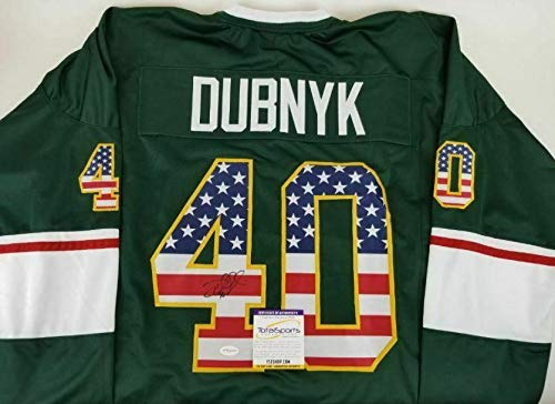 Autographed Devan Dubnyk Jersey - USA Flag Custom TSE COA 2 - Autographed NHL Jerseys