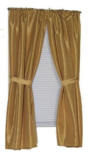 Window Fabric Curtain Bathroom (Carnation Home Fashions Lauren Dobby Fabric Bathroom Window Curtain, 34-Inch by 54-Inch, Gold)