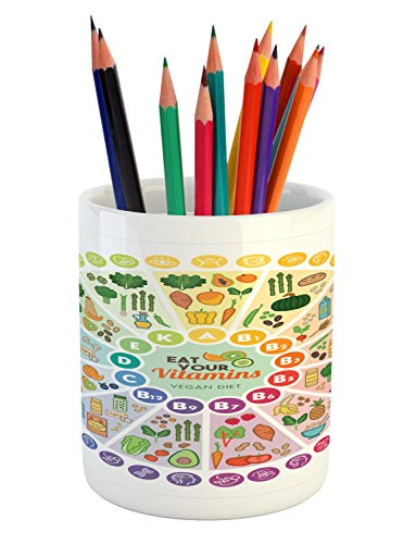 Ambesonne Vegan Pencil Pen Holder, Vitamin Vegan Food Sources and Functions Rainbow Wheel Chart with Icons Healthcare, Printed Ceramic Pencil Pen Holder for Desk Office Accessory, Multicolor