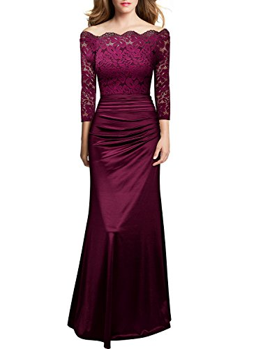 Miusol Women's Retro Off Shouler Floral Lace Ruched Bridesmaid Maxi Dress,H-wine Red,X-Large (Bridal Gowns Vintage)