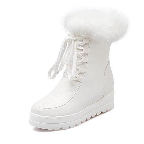 Allhqfashion Women's PU Soft Materials Round Closed Toe Low-top Kitten-Heels Boots White erF32S4m