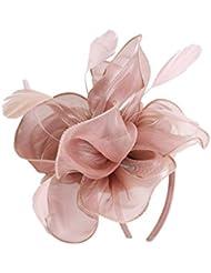 71bd20adfa5 MonkeyJack Wedding Fascinator Hat Women Feather Flower Hair Band Church Tea  Party Headdress