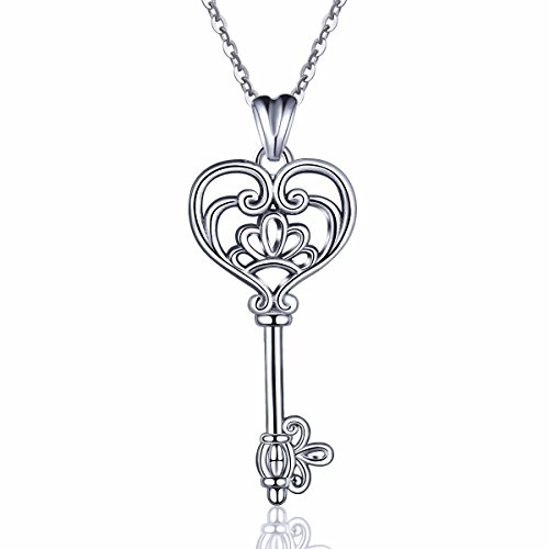EUDORA Sterling Silver Necklace V&A Bless Key of Happiness Pendant 18 inch, Gift to Friends, Girlfriend