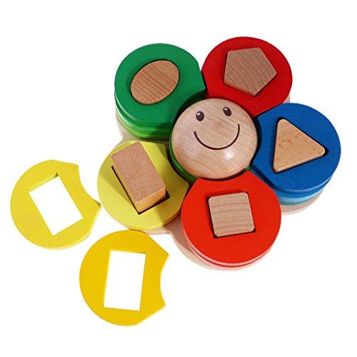 SM SunniMix Wooden Geometric Blocks Stacking & Matching Game, Flower Shape Column, Children Boys Girls Educational Toy ()