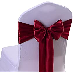 iEventStar Satin Sash Chair Bow Cover Wedding Banquet Party Decoration (10, Burgundy)