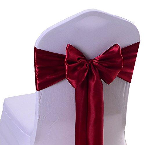 Chair Bow - iEventStar Satin Sash Chair Bow Cover Wedding Banquet Party Decoration (10, Burgundy)