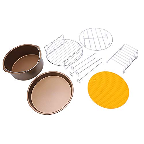 Gano Zen Cake Pan Set 8 inch XL Air Fryer Accessories Set of 6 for Cozyna and Secura etc Fit All 5.3QT 5.8QT Air Fryer Golden Gold