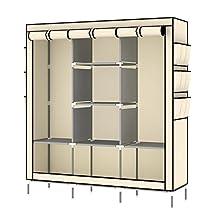 KALRI Clothes Closet Portable Wardrobe Non-woven Fabric Storage Organizer with Shelves