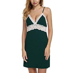 Joaquin Lawrence Women Spaghetti Strap Lace Patchwork Lingerie Dress Sleepwear Sleepshirts Size S-XL Green L