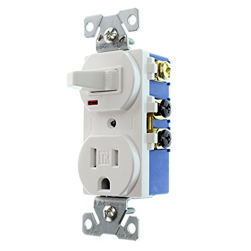 Eaton TR274W 3-Wire Receptacle Combo Single-Pole Switch with Tamper Resistant 2-Pole, White (Resistant Switch)