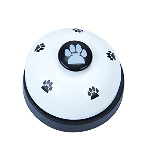 (bjlongyi Pets Training Bell,Lovely Footprint Style Metal Feeders Playing Toy Pet Pet Supplies White)