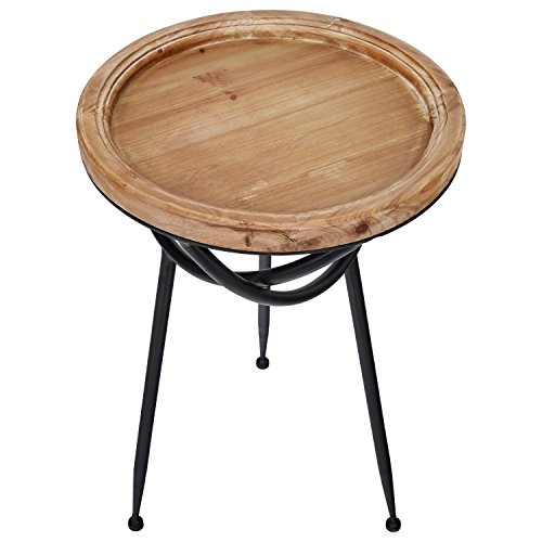 Stone & Beam Modern Rustic Wood and Metal  Side Table, 16.25