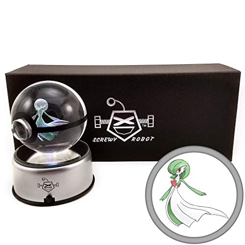ScrewyRobot Crystal Ball 3D Night Light Color Changing Lamp 80mm (Gardevoir) (Best Psychic Pokemon Crystal)