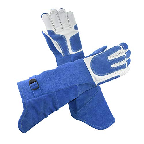 LAIABOR Welding Gloves Longer Extreme Heat fire Resistant with Kevlar Stitching Heavy Duty Welders Gauntlet Lined Fireplace Grill BBQ Animal handling Gardening Wood,BlueAsh by LAIABOR (Image #1)