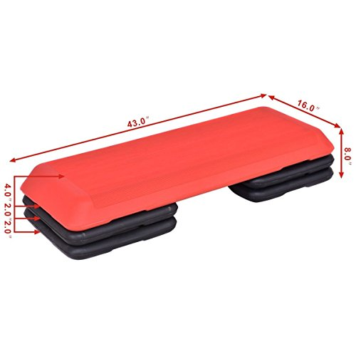 Red Trapezoid 43'' Aerobic Stepper Adjustable Height for Work Out by FDInspiration (Image #7)