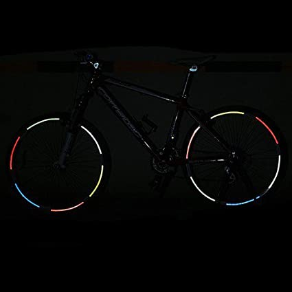 Hanbaili Astilla 2PCS Bicicleta MTB fluorescente ciclismo borde de la rueda de la motocicleta Pegatinas reflectantes