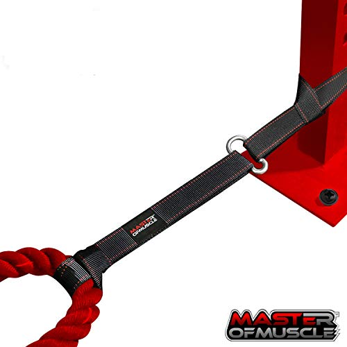 Master of Muscle Battle Rope Anchor Strap Kit - Exercise Training Accessories for Ropes - Easy Setup Station in Home Gym/Outdoor - Steel Carabiner Mount + Heavy Duty Reinforced Straps + Workout Ebook