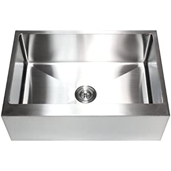 33 Inch Stainless Steel Single Bowl Flat Front Farmhouse Apron Kitchen Sink  16 Gauge