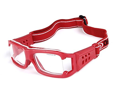 Lorsoul Unisex Outdoor Sports Goggles Safety Protective Glasses Eyewear with Anti-fog Lens & Adjustable Strap for Cycling Basketball Football Hockey Rugby (Houston Red)