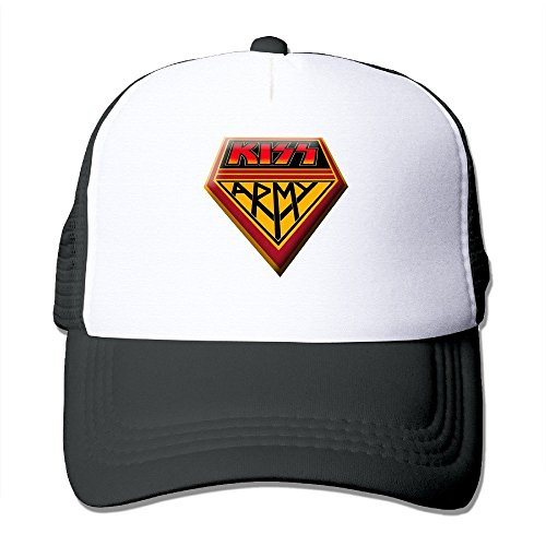 Military Tweed Hat - Cool Kiss Rock Music Army Trucker Cap Baseball Hat (5 Colors) Black