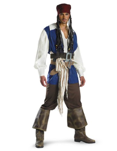 [Disguise Men's Disney Pirates Of The Caribbean Captain Jack Sparrow Classic Costume, Brown/Blue White,] (Jack White Halloween Costume)