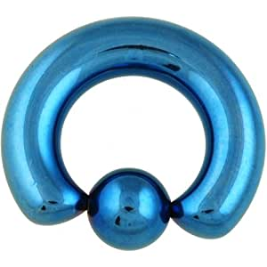 "Amazon.com: One PVD Stainless Steel Captive Bead Ring: 2g 9/16"" Blue"