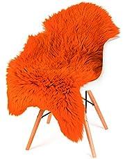 ESTRO Schapenvacht Fluffy Donzig Wit Bruin Crème Vloerkleed voor Slaapkamer Schapenvacht Echt Dieren Deken ESZ (110 cm, Oranje)